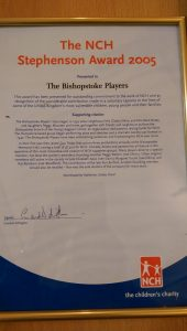 The Stephenson Award 2005 certificate