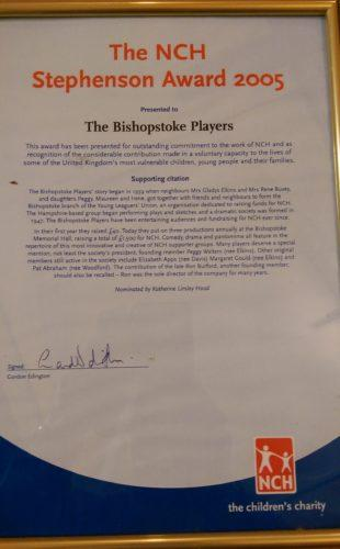 Stephenson Award 2005 certificate