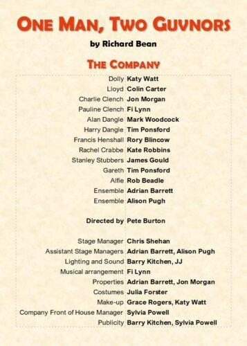 2021 One Man Two Guvnors programme credits